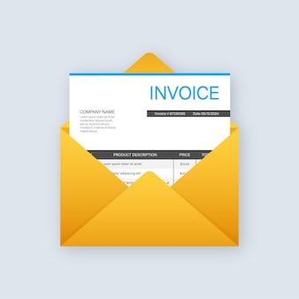 Vettore icona fattura, messaggio e-mail ricevuto con documento fattura, busta aperta stile piatto con carta fattura vuota.