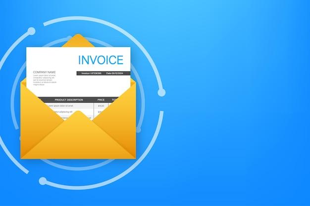 Vettore dell'icona della fattura messaggio di posta elettronica ricevuto con il documento della fattura