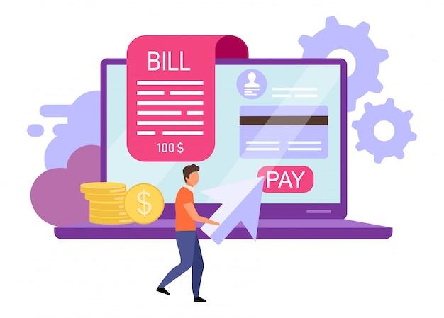 Illustrazione piatta di pagamenti di fattura. paga di fattura, concetto del fumetto di ricevuta online.