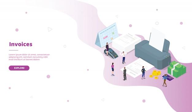 Modello di pagina di destinazione fatture in stile isometrico