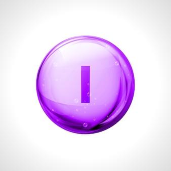 Iodio, iodum shining pill capcule. i vitamina sostanza simbolo design alimentazione sana.