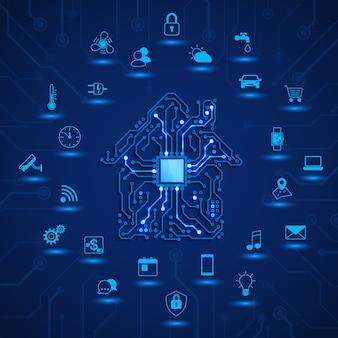 Concetto iot monitoraggio e controllo remoti della casa intelligente circuito della casa e funzione della casa intelligente
