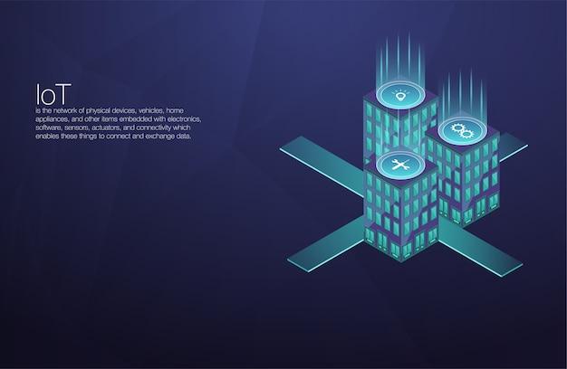 Tecnologia del futuro della piattaforma iot. connessione domestica intelligente e controllo con i dispositivi tramite la rete domestica. internet delle cose scarabocchia la priorità bassa.
