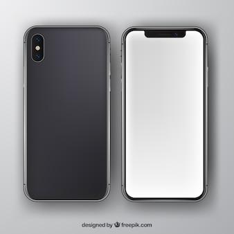 Iphone x con schermo bianco in stile realistico