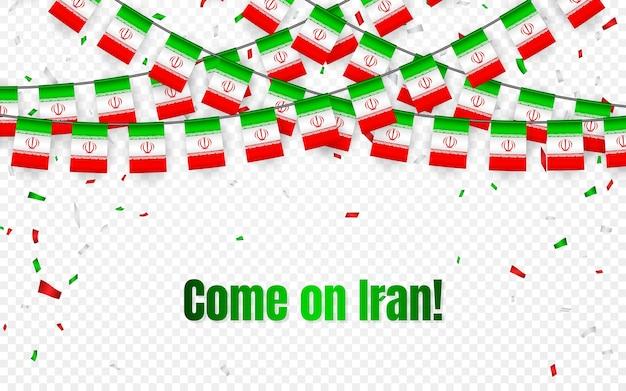 Bandiera dell'iran ghirlanda con coriandoli su sfondo trasparente, appendere stamina per banner modello celebrazione,