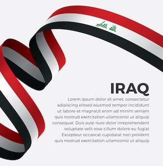 Illustrazione di vettore della bandiera del nastro dell'iraq su uno sfondo bianco vettore premium