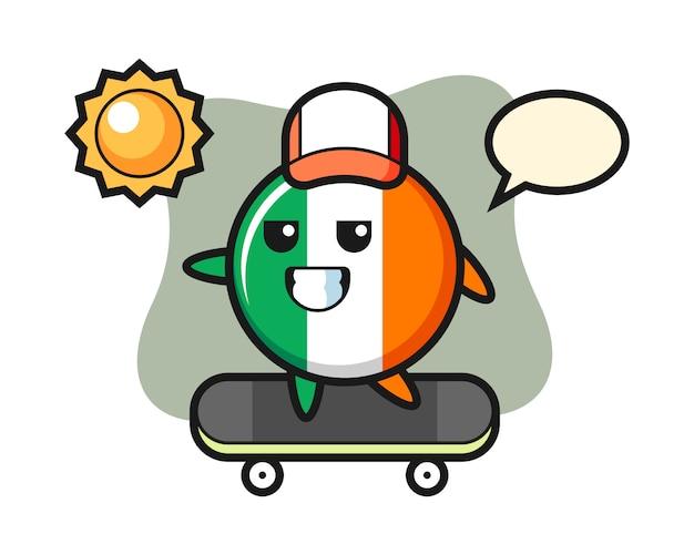 Illustrazione del carattere del distintivo della bandiera dell'irlanda cavalca uno skateboard