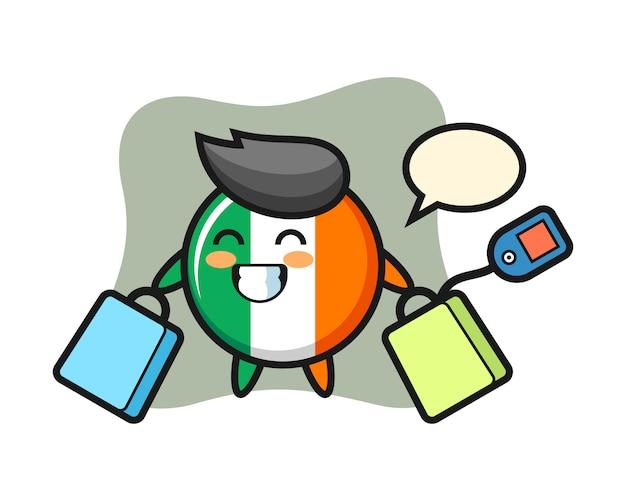 Fumetto della mascotte del distintivo della bandiera dell'irlanda che tiene un sacchetto della spesa