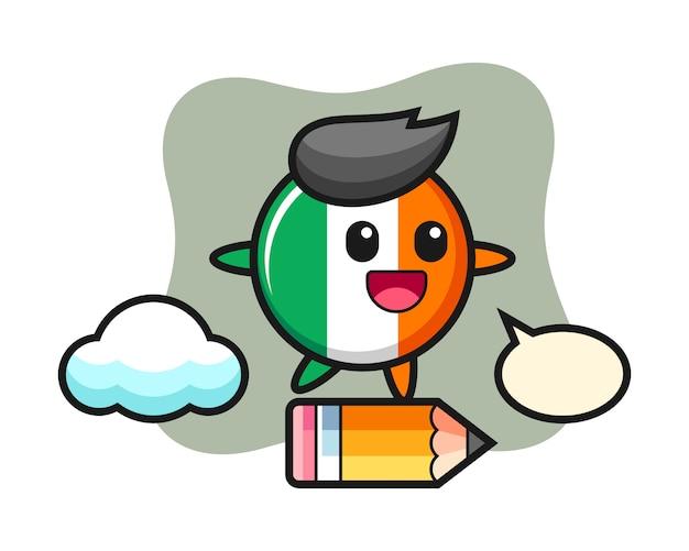 Illustrazione della mascotte del distintivo della bandiera dell'irlanda cavalcando una matita gigante