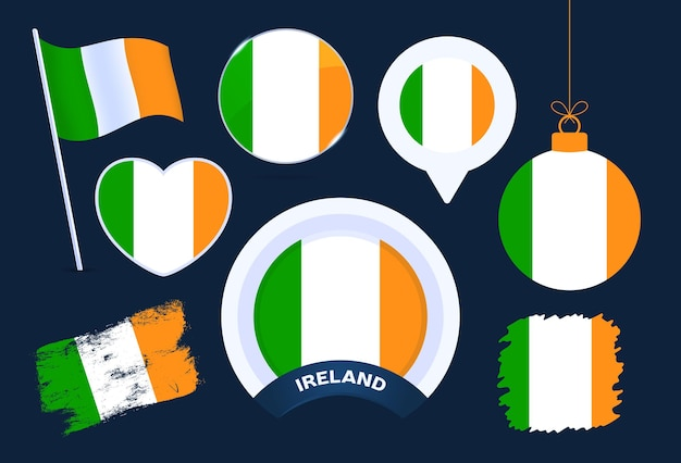 Accumulazione di vettore della bandiera dell'irlanda. grande set di elementi di design della bandiera nazionale in diverse forme per le festività pubbliche e nazionali in stile piatto.