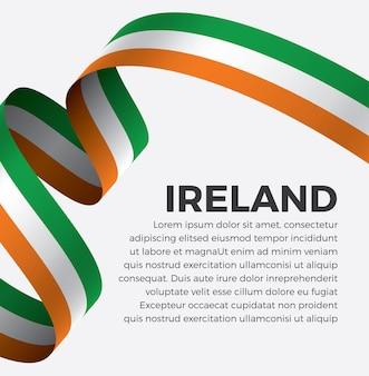 Illustrazione di vettore della bandiera del nastro dell'irlanda su uno sfondo bianco vettore premium