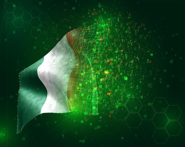 Irlanda, bandiera vettoriale 3d su sfondo verde con poligoni e numeri di dati