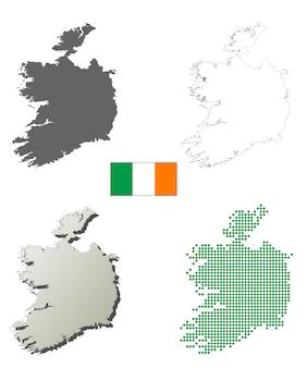 Insieme di mappa di contorno vettoriale irlanda