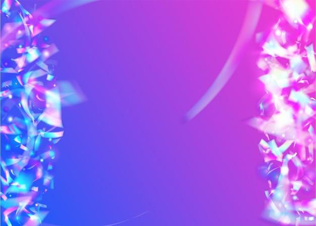 Glitter iridescenti. foglio luminoso. tinsel retrò viola. abbagliamento trasparente. sfondo difettoso. arte digitale. prisma di metallo. sfumatura realistica da discoteca. glitter viola iridescenti