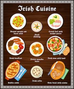 Piatti di menu di cucina irlandese e pasti irlandesi