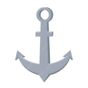 Argento di ancoraggio di ferro in stile piatto del fumetto isolato su priorità bassa bianca
