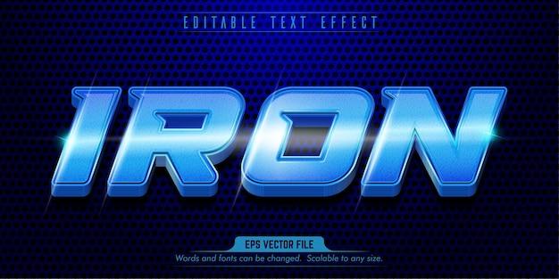 Effetto di testo modificabile in stile ferro blu ferro