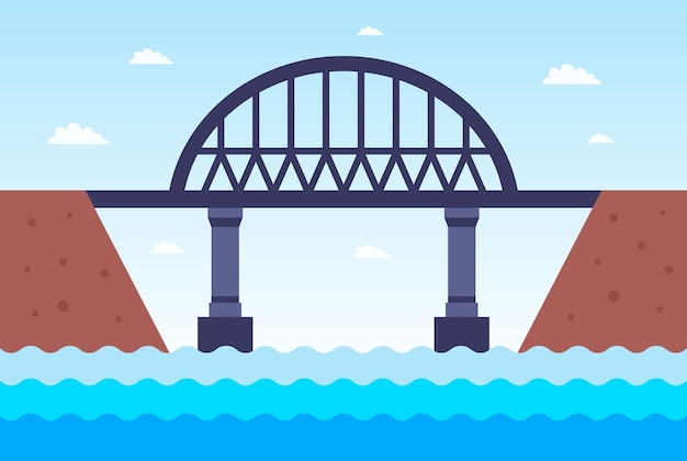 Un ponte di ferro attraverso il fiume dall'altra parte. illustrazione vettoriale piatto.