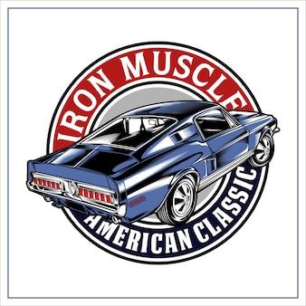 Iron muscle car illustrazione grafica
