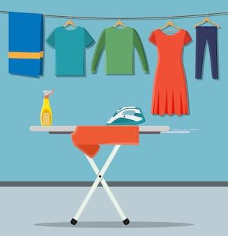 Asse da stiro con icone del servizio lavanderia