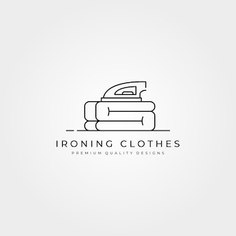 Disegno dell'illustrazione minima di arte di linea del logo dell'icona dei vestiti da stiro