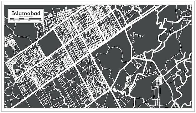 Mappa della città di islamabad pakistan in stile retrò. mappa di contorno. illustrazione di vettore.