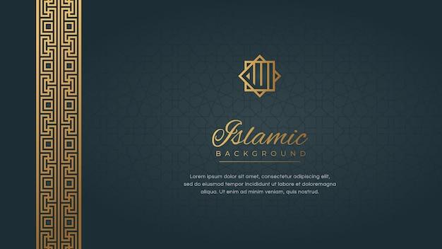 Sfondo arabo islamico con cornice di bordo di lusso elegante dorato astratto