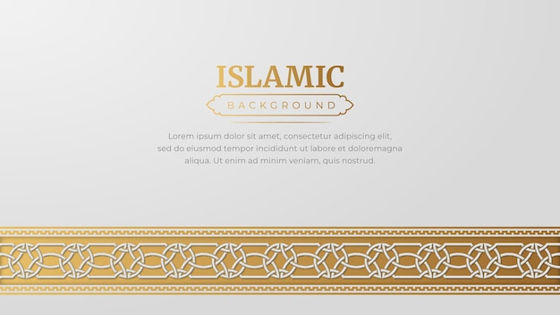 Arabo islamico golden ornament arabesque border background con copia spazio per il testo