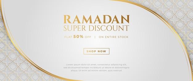 Banner di vendita di lusso arabo islamico ramadan kareem eid mubarak