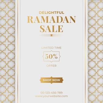Banner di vendita di lusso arabo islamico ramadan kareem mubarak