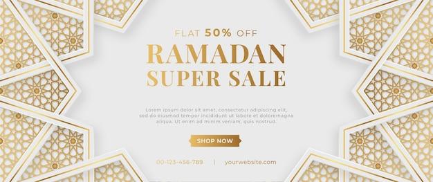 Banner di vendita di ramadan di lusso arabo islamico