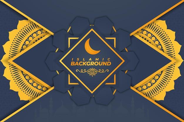 Sfondo islamico luna ornamento blu moschea piatta