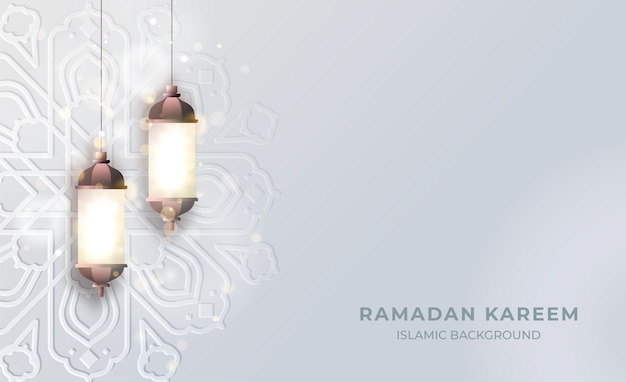 Sfondo islamico ramadan kareem con luce lanterna e motivo mandala islamico