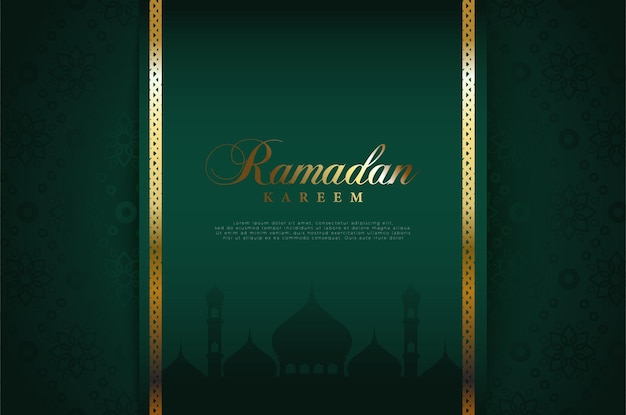 Sfondo islamico con brillanti illustrazioni della scrittura del ramadan e bordi dorati.