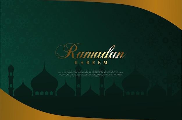 Sfondo islamico con brillanti illustrazioni di scrittura ramadan.