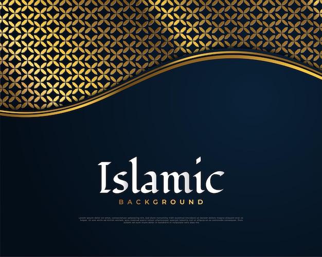 Sfondo islamico con motivo arabo oro in stile taglio carta