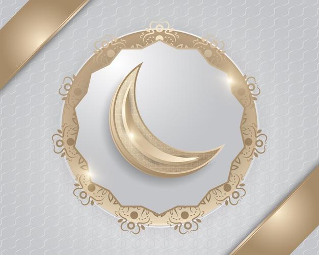 Sfondo islamico con mezzaluna d'oro e decorazioni di lusso