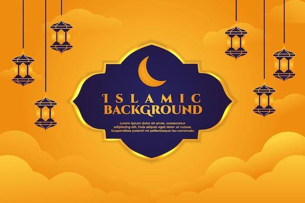 Sfondo islamico con la luna e le nuvole