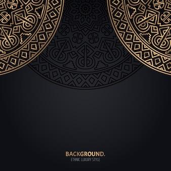 Sfondo nero islamico con decorazioni in oro mandala