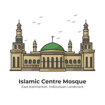 Illustrazione al tratto carino del punto di riferimento indonesiano della moschea del centro islamico
