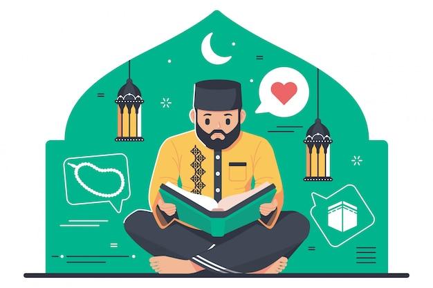 Carattere islamico che legge il corano