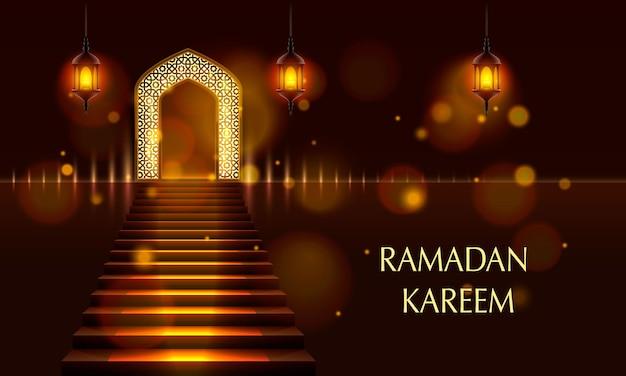 Porta islamica della moschea, copertina del ramadan kareem. illustrazione vettoriale