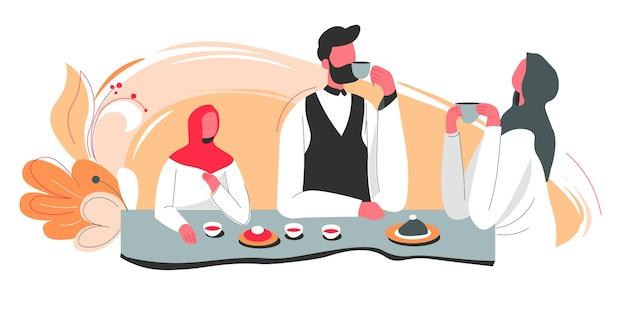 Famiglia islamica di madre e padre con figlia seduta al tavolo a bere tè o caffè e comunicare. sera o mattina in casa araba, personaggi a cena. vettore in stile piatto