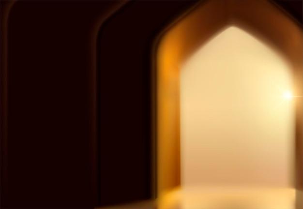 Sfondo del festival islamico con porta ad arco in effetto bokeh
