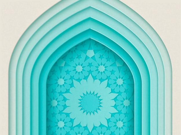 Design del festival islamico con sfondo ad arco multistrato in stile carta, illustrazione 3d