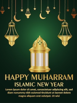 Volantino festa festa muharram felice festa islamica con lanterna dorata