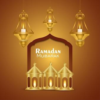 Festival islamico ramadan kareem o eid mubarak sfondo realistico con lanterna creativa e luna dorata