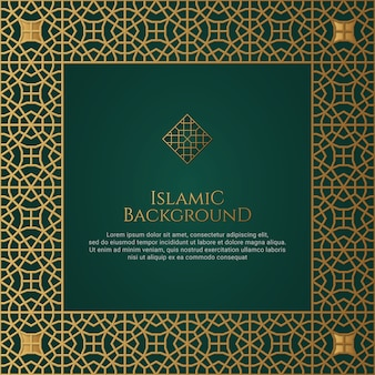 Ornamento verde islamico border frame arabesque pattern background