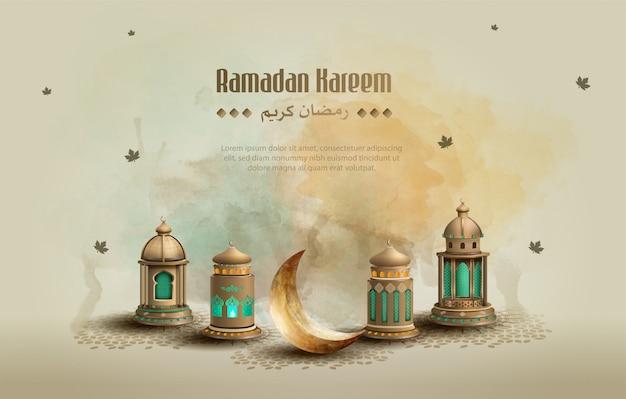 Saluto islamico ramadan kareem card design sfondo con bellissime lanterne e falce di luna