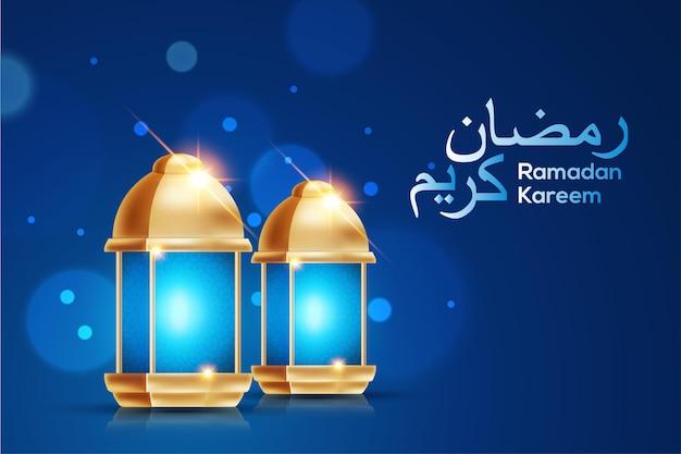 Saluti islamici ramadan kareem sfondo con bellissime lanterne d'oro